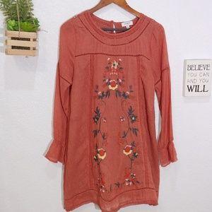 Umgee Boho embroidered tunic mini dress size M